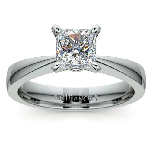 Flat Taper Princess Moissanite Engagement Ring in White Gold