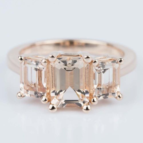 Custom Morganite Gemstone Engagement Ring in Rose Gold