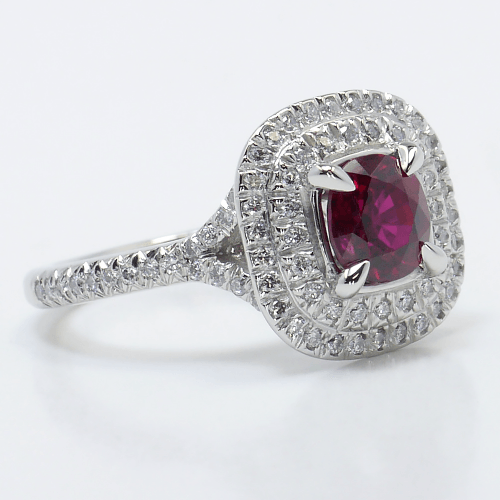 French Cut Double Halo Ring with Ruby Center