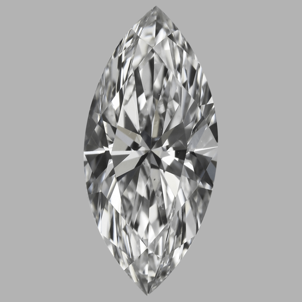 A D color VS2 clarity marquise diamond shows no color and no visible inclusions