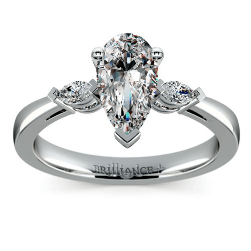 Marquise Diamond Engagement Ring in Platinum