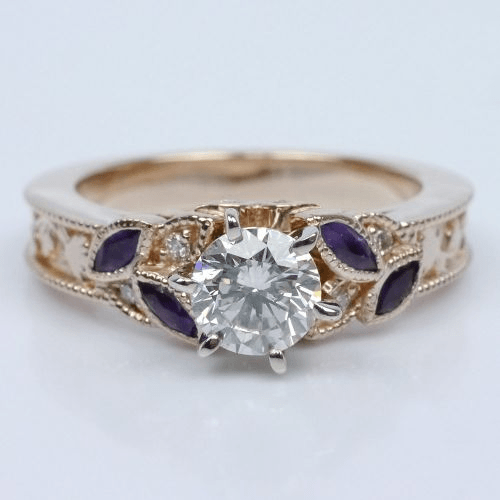 Vintage Diamond Amethyst Floral Engagement Ring