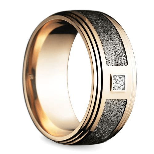 Grooved Edge Diamond Men's Wedding Ring in Rose Gold