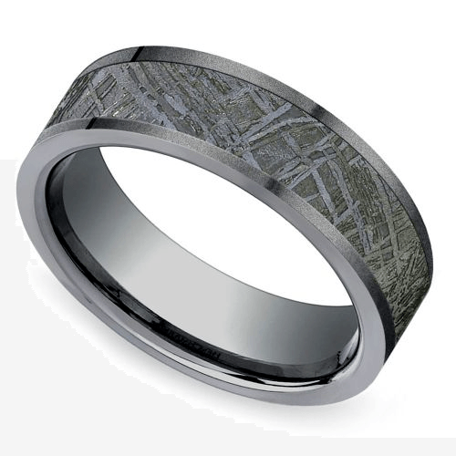 Sandblasted Meteorite Inlay Men's Wedding Ring in Titanium