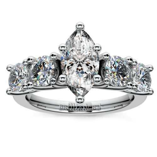 Trellis Five Diamond Engagement Ring in White Gold