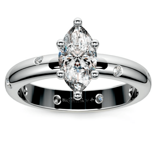 Inset Diamond Engagement Ring in White Gold