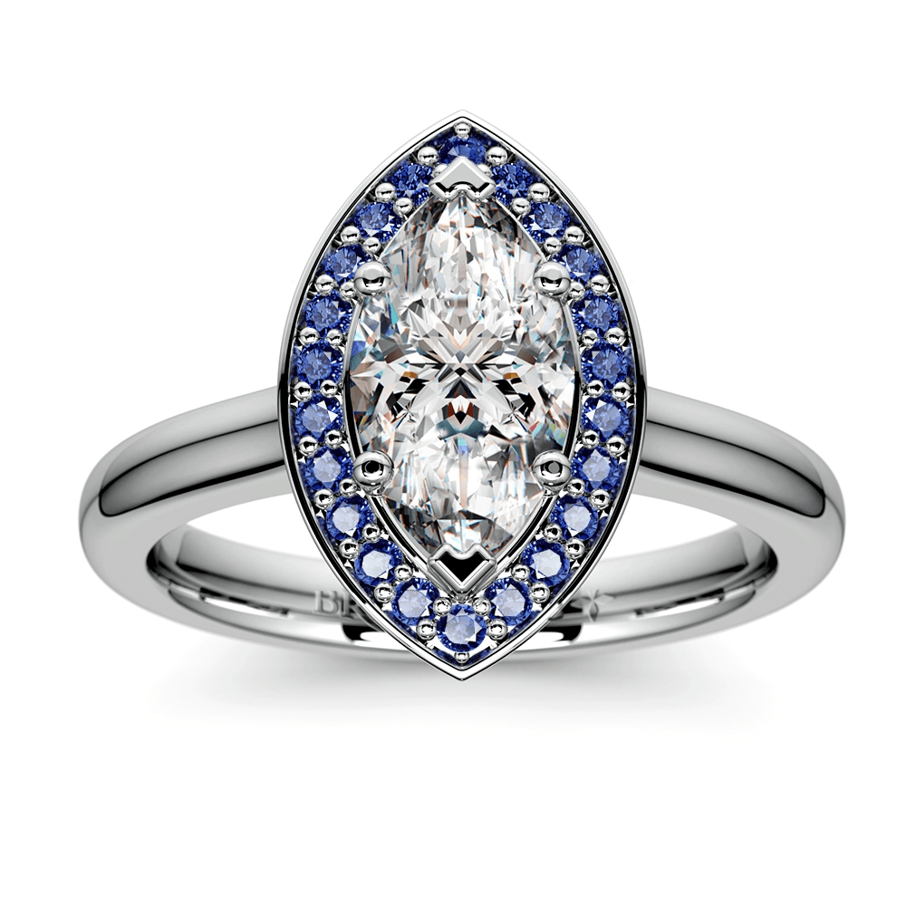 Halo Sapphire Gemstone Ring in Platinum