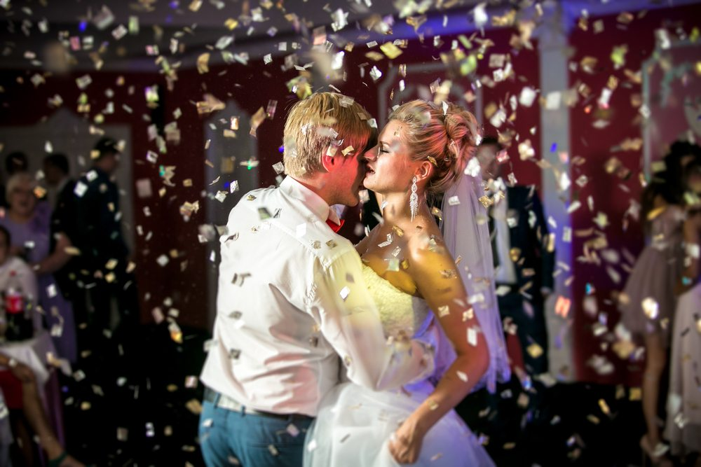 portrait confetti flying dancing beautiful