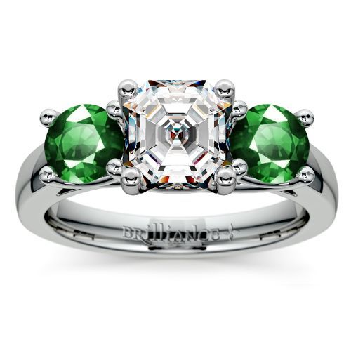 Three Stone Trellis Emerald Gemstone Engagement Ring