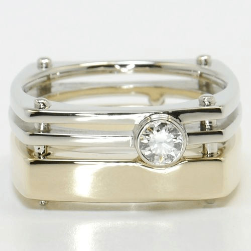 White & Gold Solitaire Men's Wedding Band