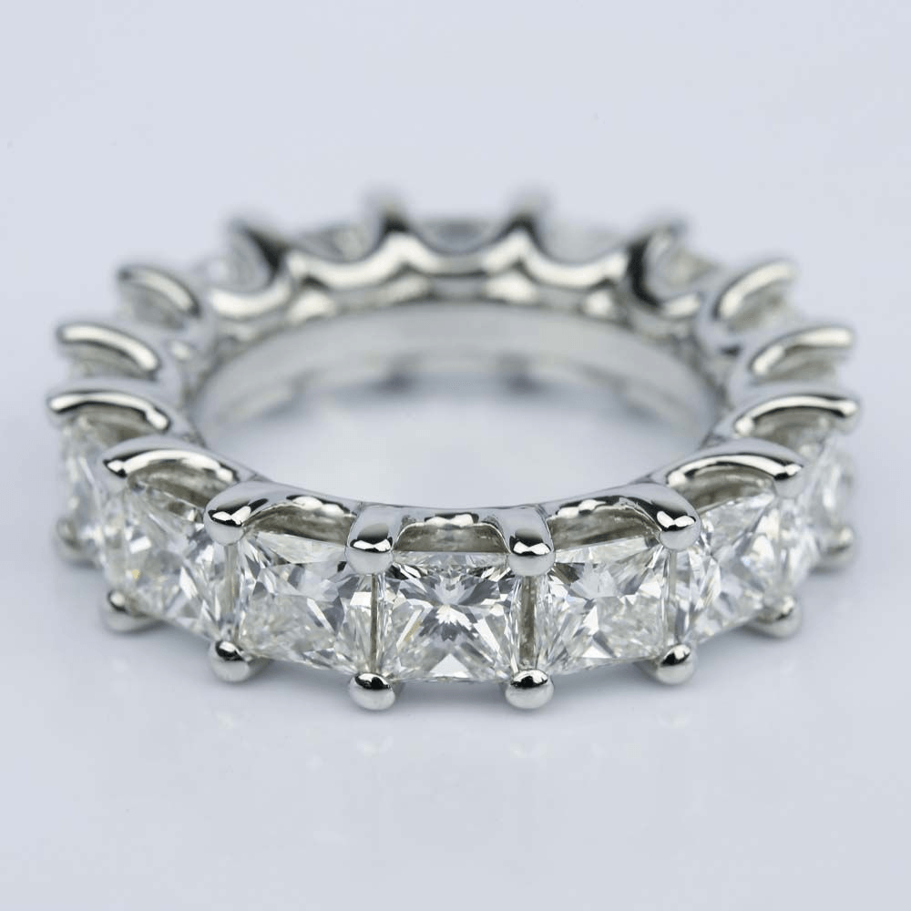 Custom Princess Cut Diamond Eternity Band in Platinum