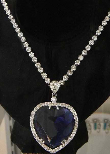 heart diamond necklace is the fictional Heart of the Ocean, from Titanic