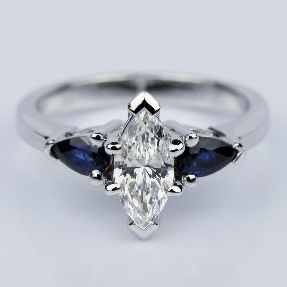 Pear Sapphire Gemstone Marquise Diamond Engagement Ring