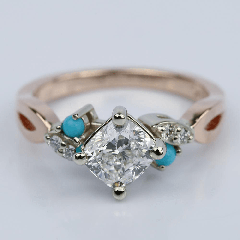 Turquoise Accented Two-Tone Cushion Diamond Engagement Ring