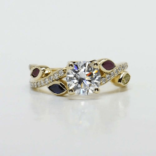 Twisted Petal Diamond and Gemstone Engagement Ring