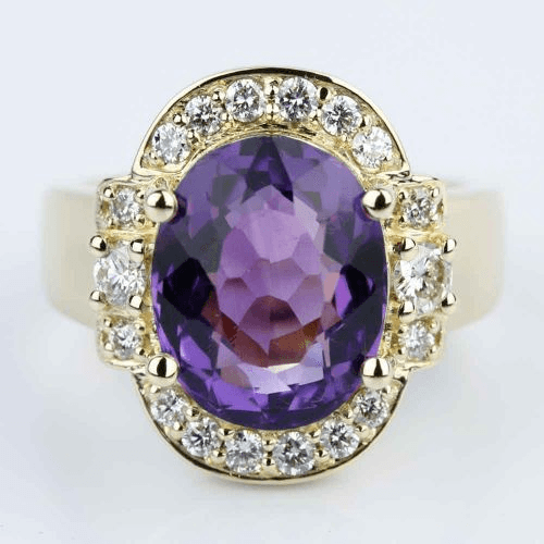 Amethyst Gemstone Statement Diamond Halo Ring in Yellow Gold