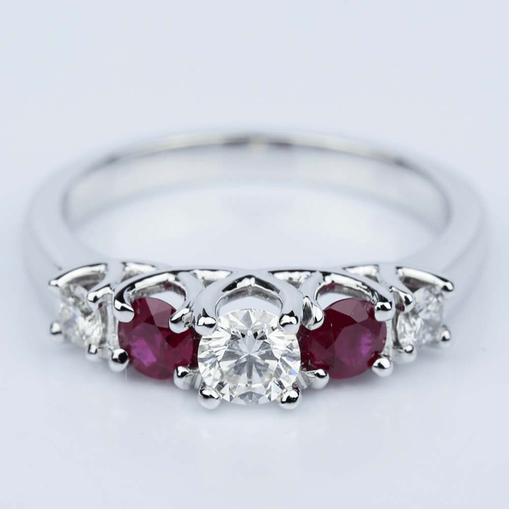 Trellis Ruby Diamond Gemstone Engagement Ring in White Gold