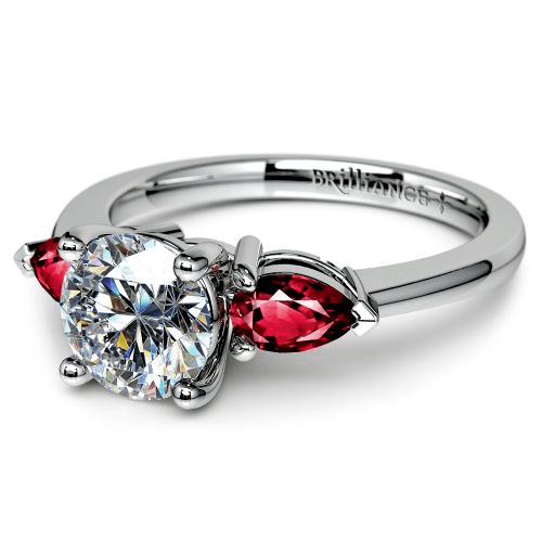 Pear Ruby Gemstone Engagement Ring in White Gold