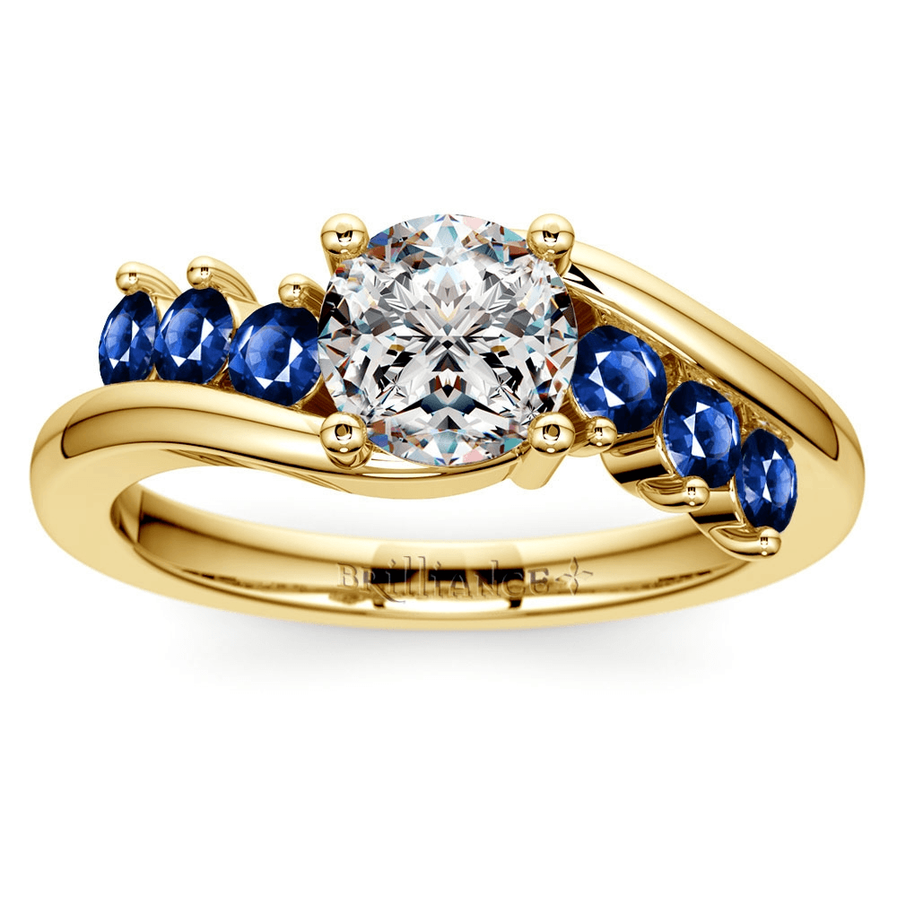 Swirl Style Sapphire Gemstone Engagement Ring in Yellow Gold