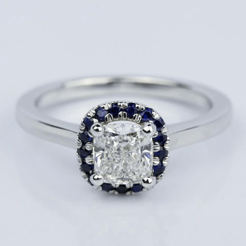 Halo Sapphire Cushion Cut Diamond Engagement Ring