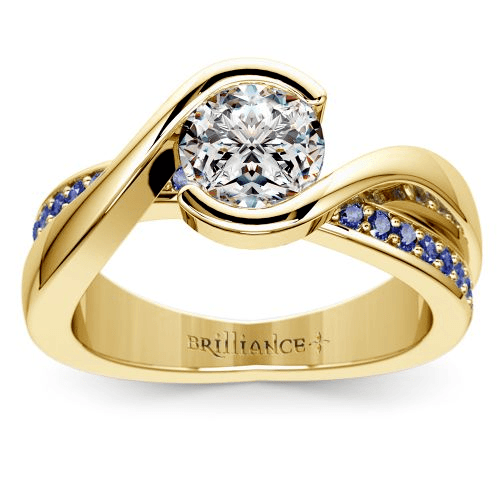Bezel Sapphire Gemstone Bridge Engagement Ring in Yellow Gold