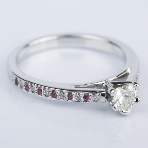 Diamond Pink Sapphire Engagement Ring with Heart Diamond