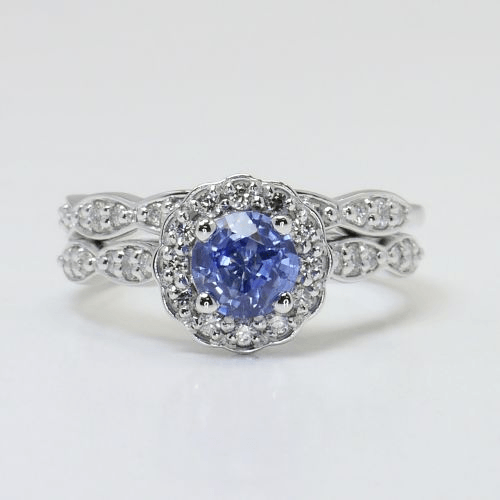 Crescent Halo Ring & Band with Sapphire Center