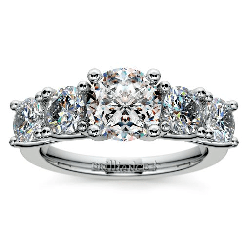 Trellis Five Diamond Engagement Ring in Platinum