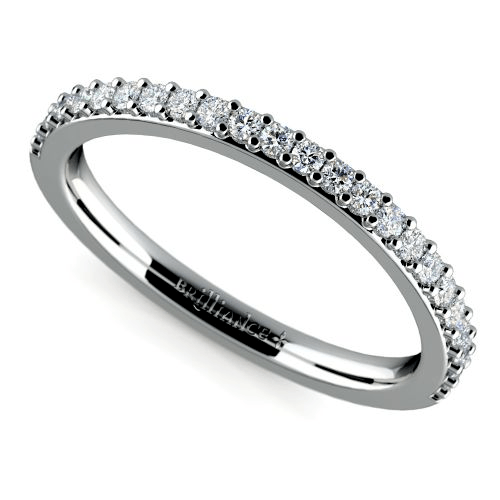 Curved Diamond Ring in White Gold