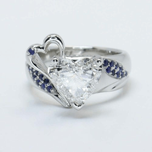 Custom Heart Diamond and Sapphire Setting