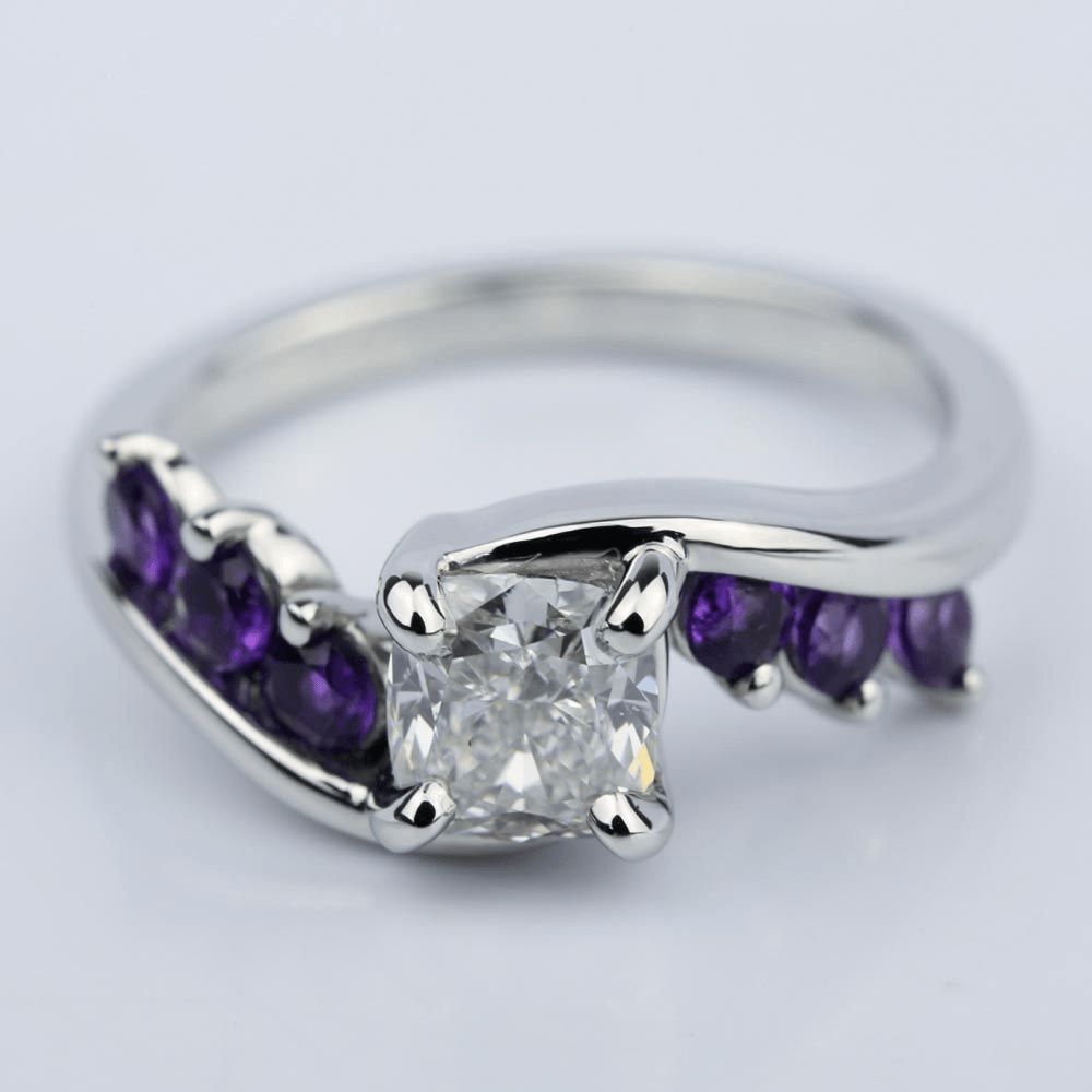 Swirl Style Amethyst Engagement Ring with Cushion Diamond