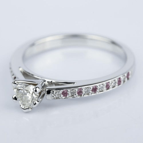 Diamond & Pink Sapphire Engagement Ring with Heart Diamond