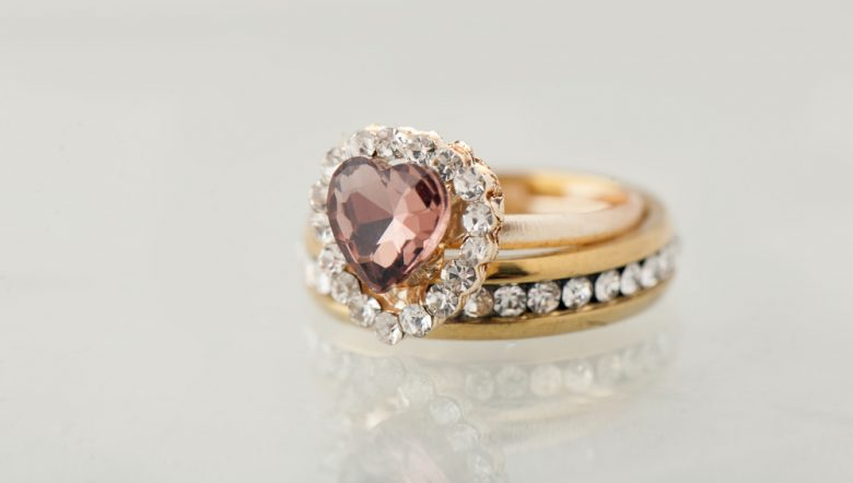 pink heart diamond rings