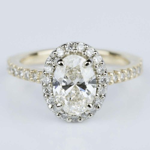 Oval Halo Diamond Engagement Ring with Yellow Gold Band and White Gold Setting