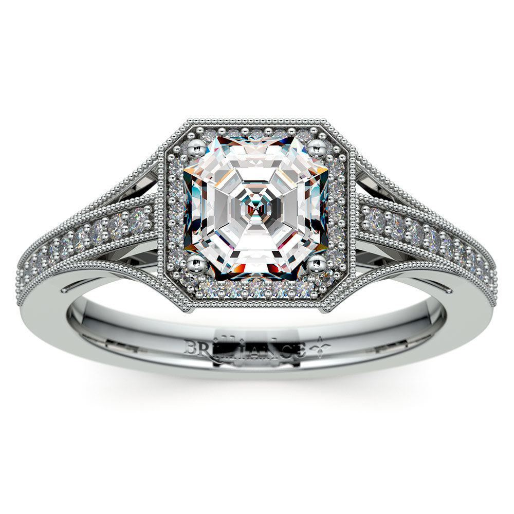 three engagement diamond raine asscher stone cut ring turgeon product diamonds