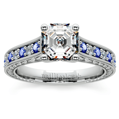 Antique Diamond & Sapphire Gemstone Engagement Ring