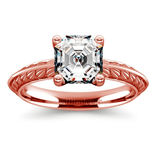 Antique Floral Engagement Ring in Rose Gold