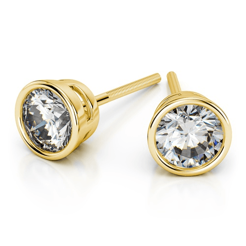 Bezel Diamond Stud Earrings in Yellow Gold