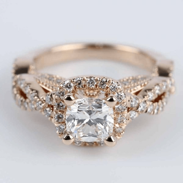 Cross Split-Shank Cushion Halo Engagement Ring in Rose Gold