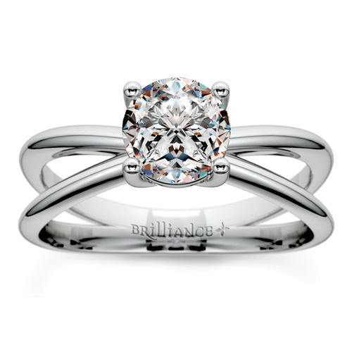 Cross Split Shank Solitaire Engagement Ring