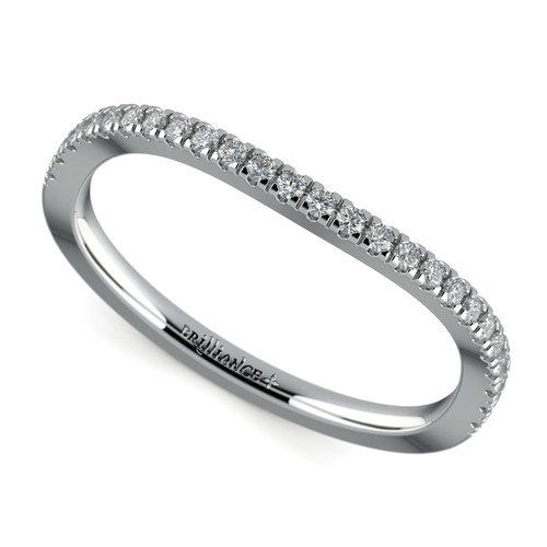 Matching Cross Split Low Diamond Wedding Ring in Platinum