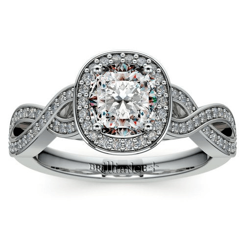 Infinity Twist Cushion Cut Halo Diamond Engagement Ring