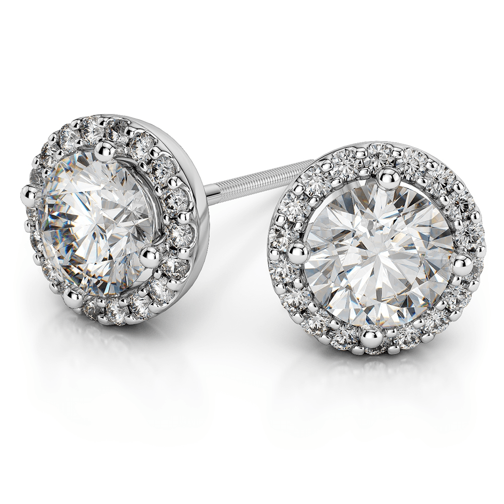 Halo Diamond Earrings in Platinum