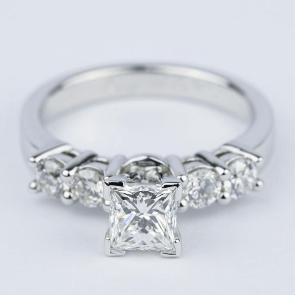Five-Diamond Engagement Ring with Princess Cut Diamond