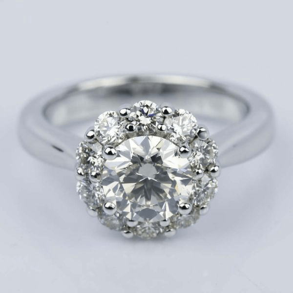 Floral Halo Diamond Engagement Ring in White Gold