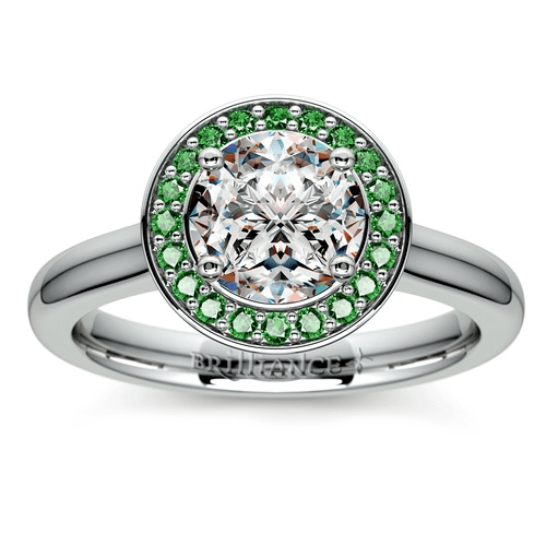 Halo Emerald Gemstone Engagement Ring