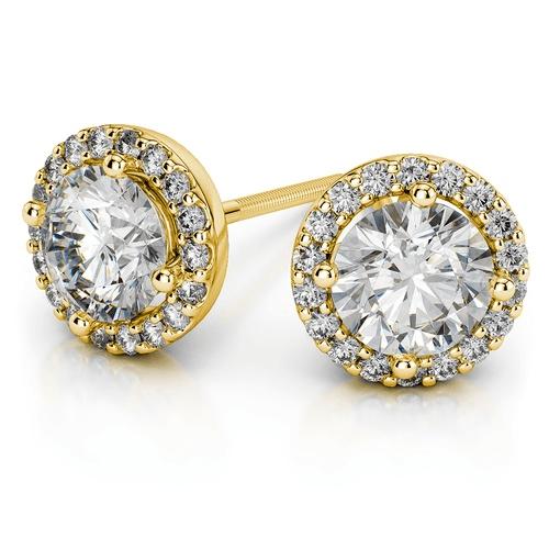 Halo Yellow Gold Diamond Stud Earrings