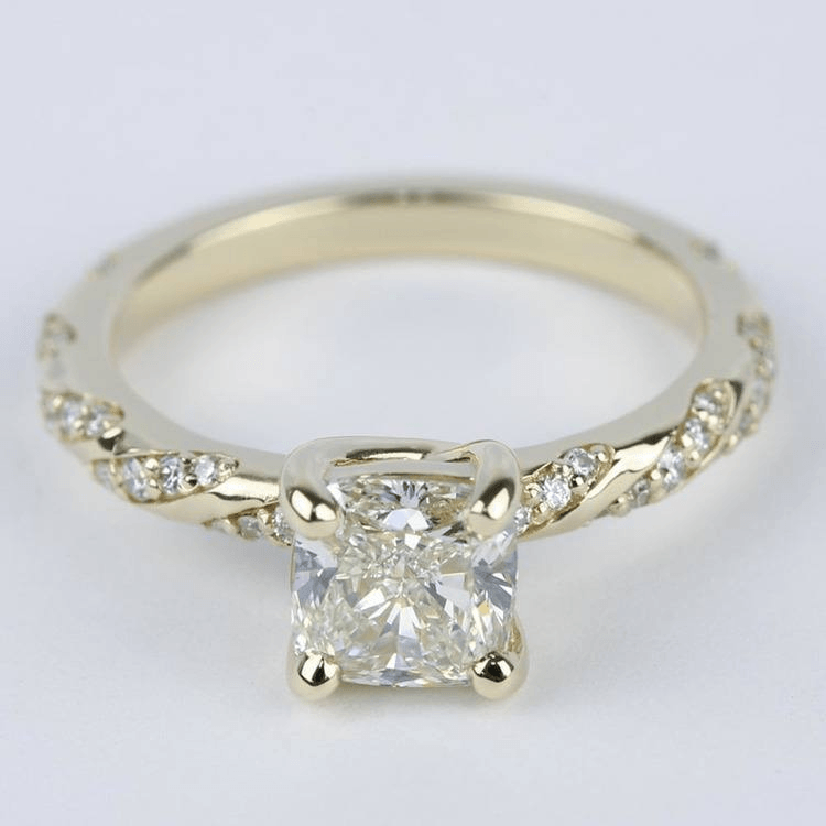 Ideal Cut Cushion Twisted Diamond Engagement Ring