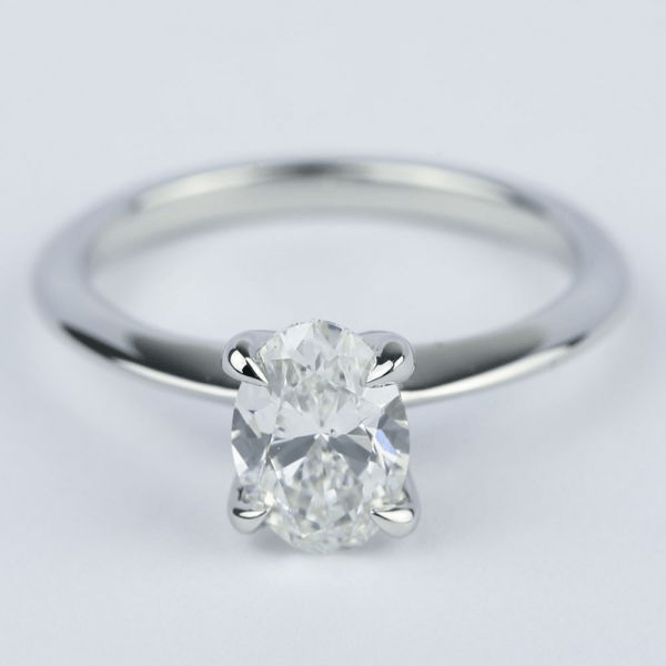 Knife Edge Oval Diamond Engagement Ring