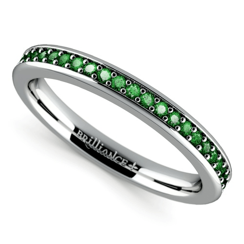 Pave Emerald Gemstone Ring in White Gold